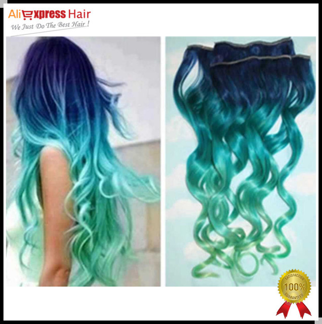 7a Bluelight Bluelight Green Ombre Clip In Human Hair Extensions