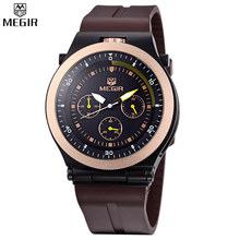 MEGIR Men Unique Design Decorate Small Dial Watch Analog Watch Luxury Band Fashion Silicone Watches Relogio