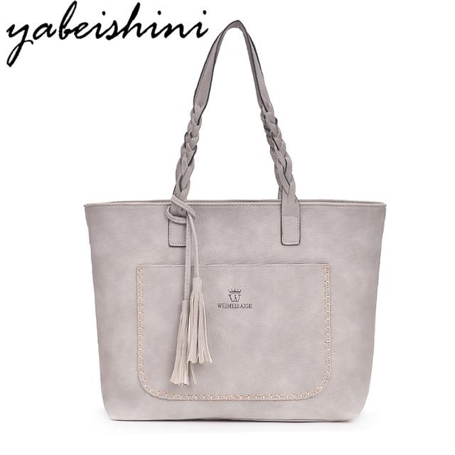 182b3c2235 2018 Large Casual Tassel Handbag Famous Brands Designers Pu Leather  Handbags Women Big Tote Bag Female