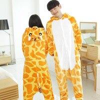 Giraffe Pajamas Adults Flannel Pyjama Suits Cosplay Costumes Garment Cute Cartoon Animal Onesies