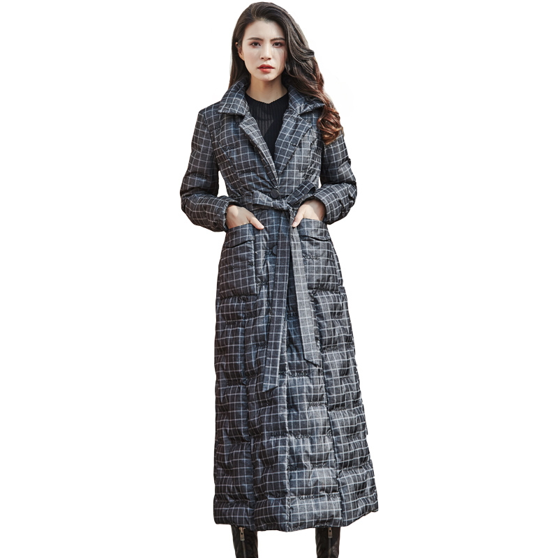 Fashion Plaid Embroidered   Down   Jacket Women Winter   Down     Coat   Female Single-breasted Belt Thicken Warm Street Long Outwear