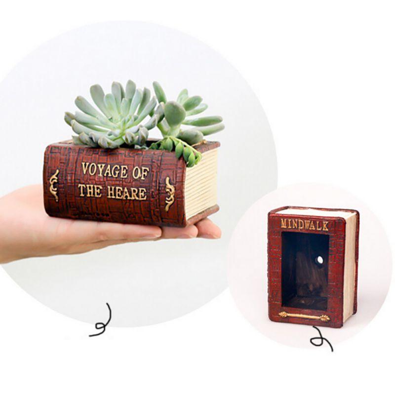 Succulent Plant Pot Box Container Home Decoration Garden Planter Vintage Book Flower Cactus