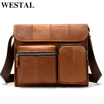 WESTAL sac pour hommes en cuir véritable homme Messenger sac hommes sacs à bandoulière décontracté sacs à bandoulière pour hommes sacs à main en cuir 380