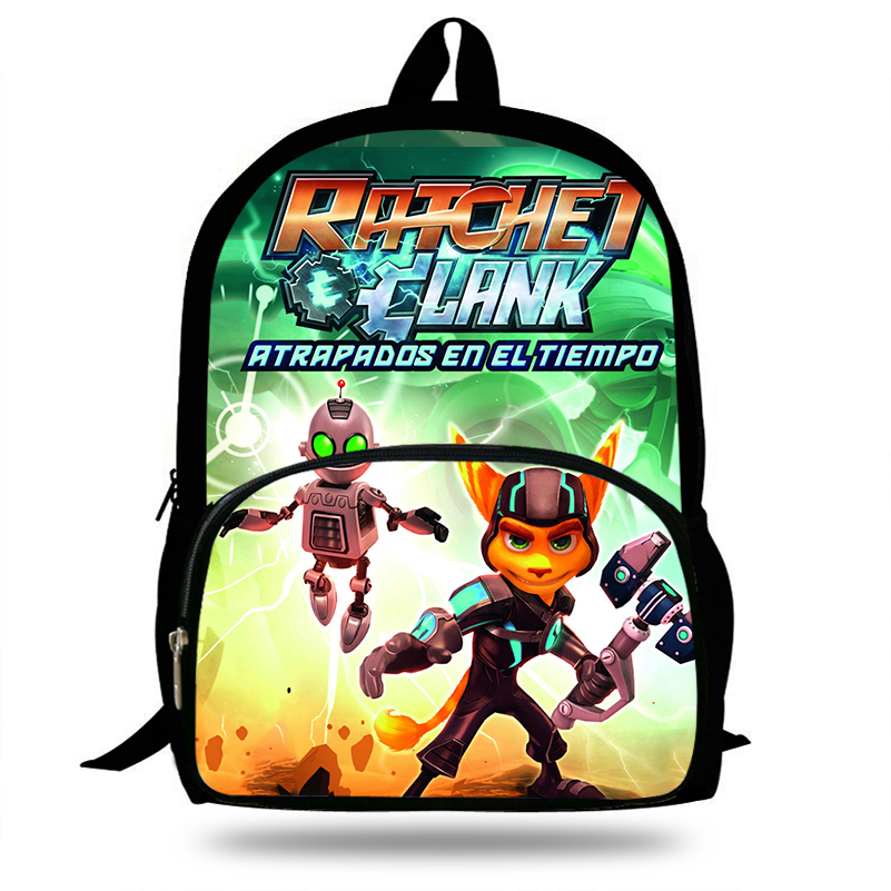 16-inch Pop Game Ratchet And Clank Print School Bags For Teenagers Boys Girls Children Cartoon Bag Kids Backpack Mochila image