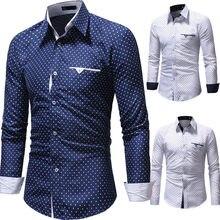 6f65bee478cff8d #4 Прямая поставка 2018 Новая мода для мужчин осень повседневное Формальные горошек  Slim Fit с длинным рукавом платье рубашка бл.