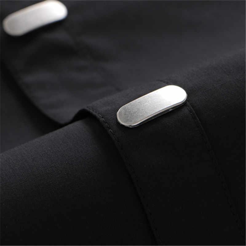 VISADA JAUNA koszule męskie 2018 jesień nowy nabytek brytyjski styl Casual z długim rękawem solidna mężczyzna elegancka typu slim koszula typu slim 4XL N511
