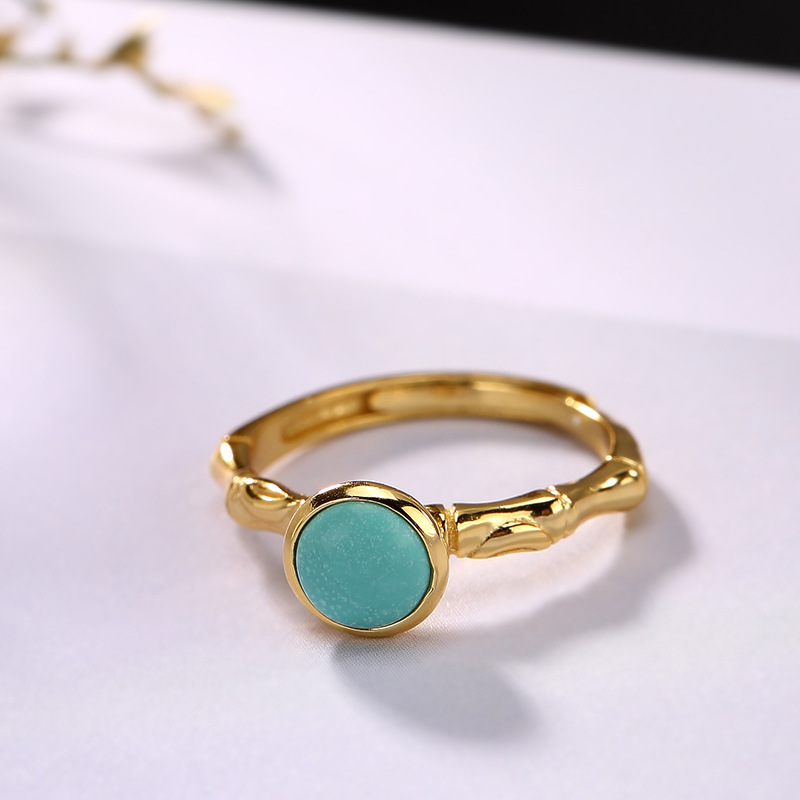 2019 Hot Sale New Bridal Sets Women Anel Feminino 925 Pure Edition Joker Female Natural Turquoise Inlay Ring Opening Wholesale in Rings from Jewelry Accessories