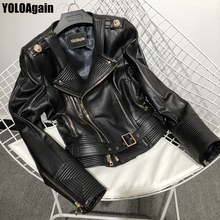 YOLOAgain Women genuine leather jacket ladies high street double zipper real leather jacket with belt cheap REGULAR Full Pockets Zippers Adjustable Waist Leather Suede NONE YA07 Polyester Sheepskin Turn-down Collar