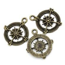 30Pcs Free Shipping Pendants Compass Bronze Tone Charms Jewelry Diy Making Findings 30x25mm(1 1/8x1)