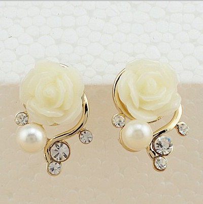 2017 New Fashion 18k Gold Plated Cute Sweet Rose Flower Rhinestone Artificial Pearl Stud Earrings For Women Las S Pink In From Jewelry