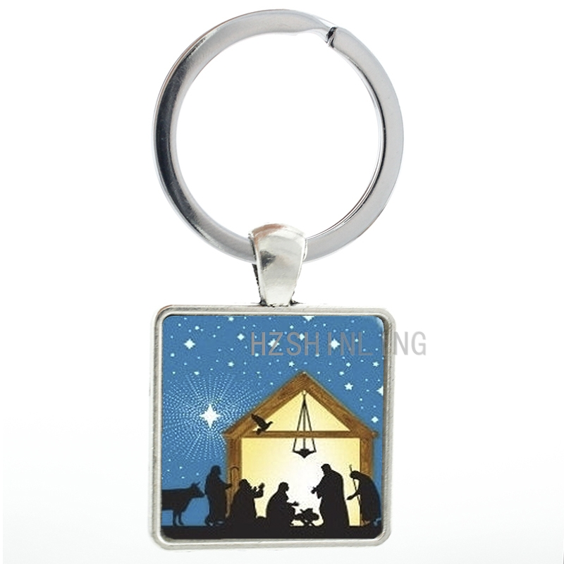 Novelty vintage Nativity Scene keychain Christmas Story key chain ring holder trendy New Year gifts for men women kids AA114