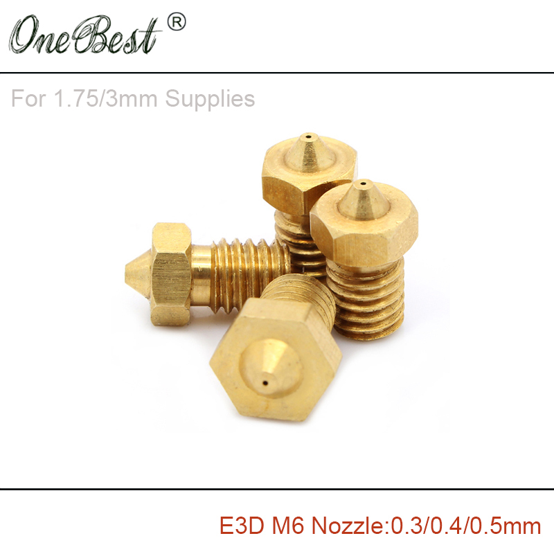 3Pcs E3D M6 threaded Copper Nozzle 0 3 0 4 0 5mm Supplies 1 75mm 3mm