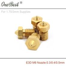3Pcs E3D M6 threaded Copper Nozzle 0.3 / 0.4 / 0.5mm Supplies 1.75mm / 3mm 3D printer parts E3D V5 V6 hot selling free shipping(China (Mainland))