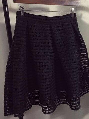 d71f27f2 MWSFH 2017 Nowy Lato Jesień Sexy moda spódnica kobiet striped hollow-out  puszyste spódnica huśtawka spódnica panie Czarny/biała Suknia Balowa
