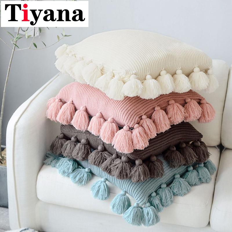 Solid Color Fringe Side Pillow Nordic Ins Style Wool Lantern Ball Pillow Creative Office Home Soft Sofa Cushion BZ025-30