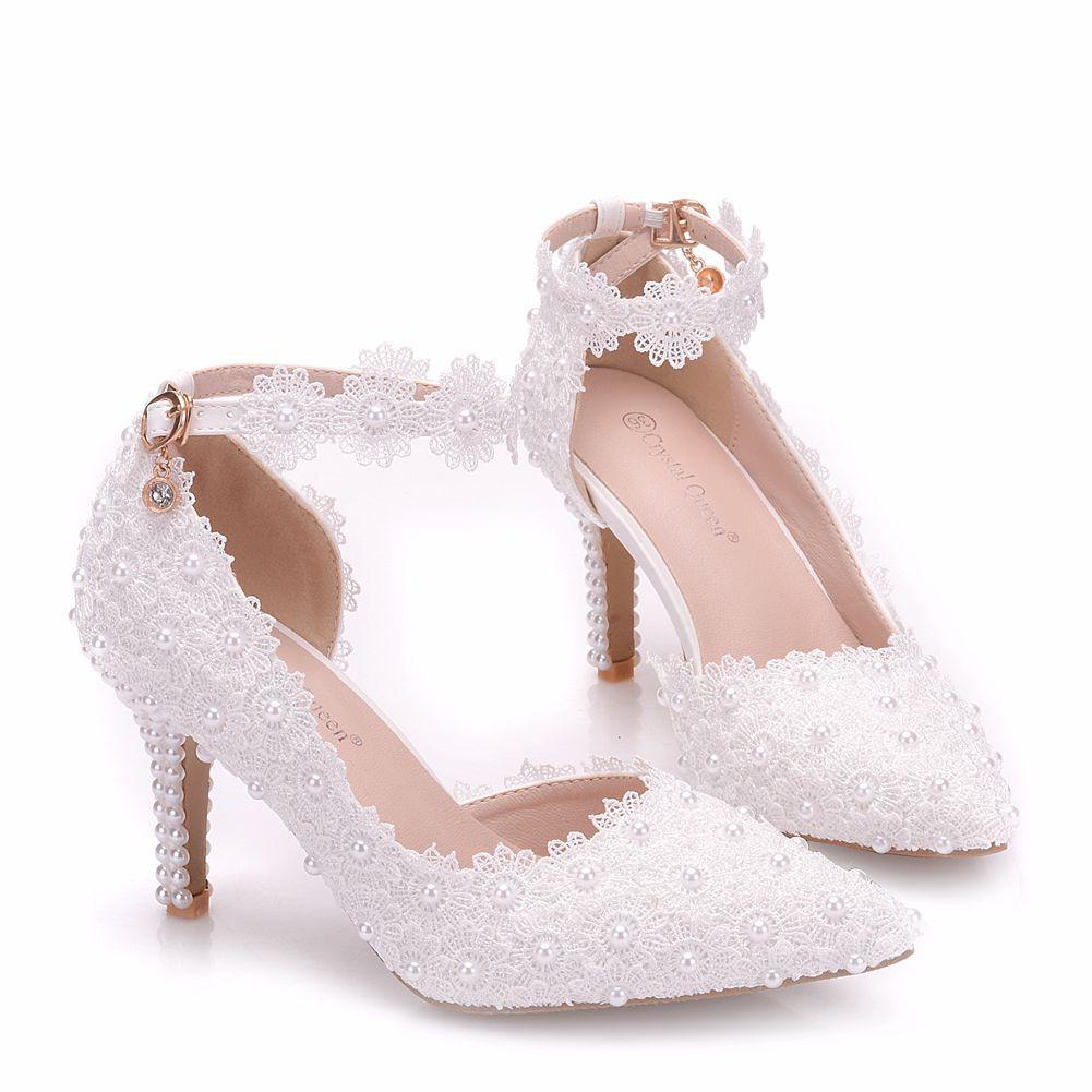 Chaussures De Zuoxiangru La Style Bout Plus Blanc Rome Boucle Cm Taille Dentelle Sandales Pointu Pompes Femmes Haute Talons Mariage Sangle 8 rrCaZw