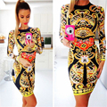 HEYounGIRL 2016 New Winter Dresses Women Print Flower Pattern Fashion Casual Yellow Dress Long Sleeve Casual O-neck Ladies Dress