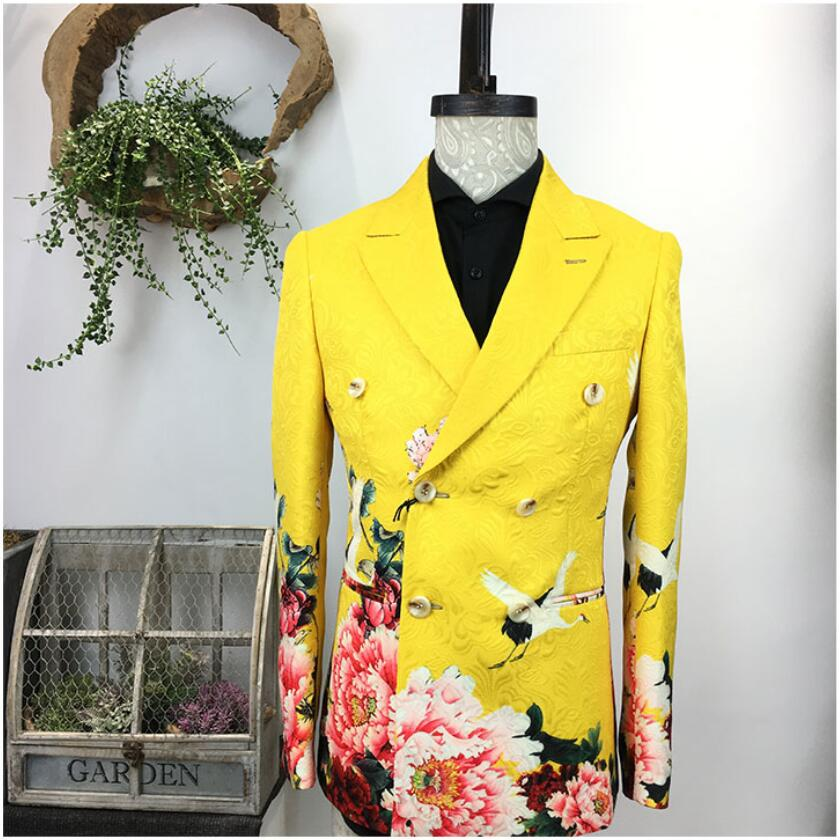 Printin Suit Men Handsome Personality Small Suit Nightclub Casual Suit Hairdresser Tide Single West Korean Version