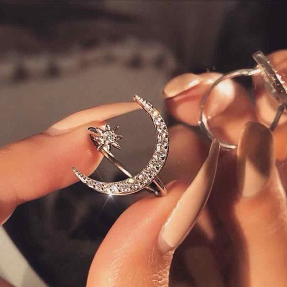 ใหม่ Cool ของขวัญ CZ Zircon Star Moon แหวน 2019 แฟชั่นคำอธิบาย Geometric Gold Silver Rose Gold Charm เครื่องประดับแหวนผู้หญิง drop ship