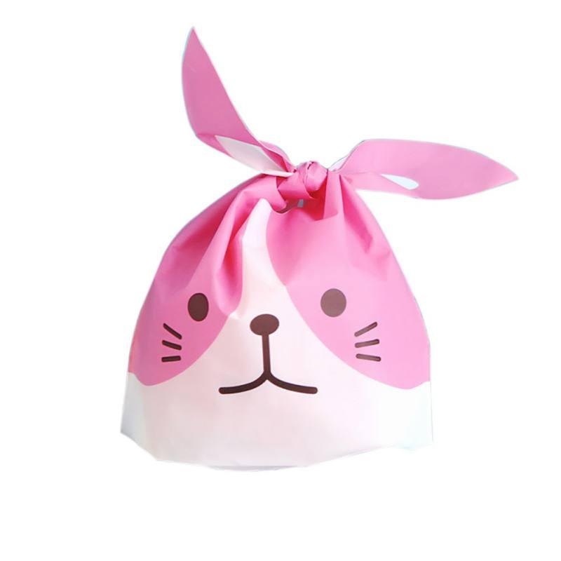 50pcs/set Bunny Pattern Gift Bag with Rabbit Ears Cookies OPP Bag