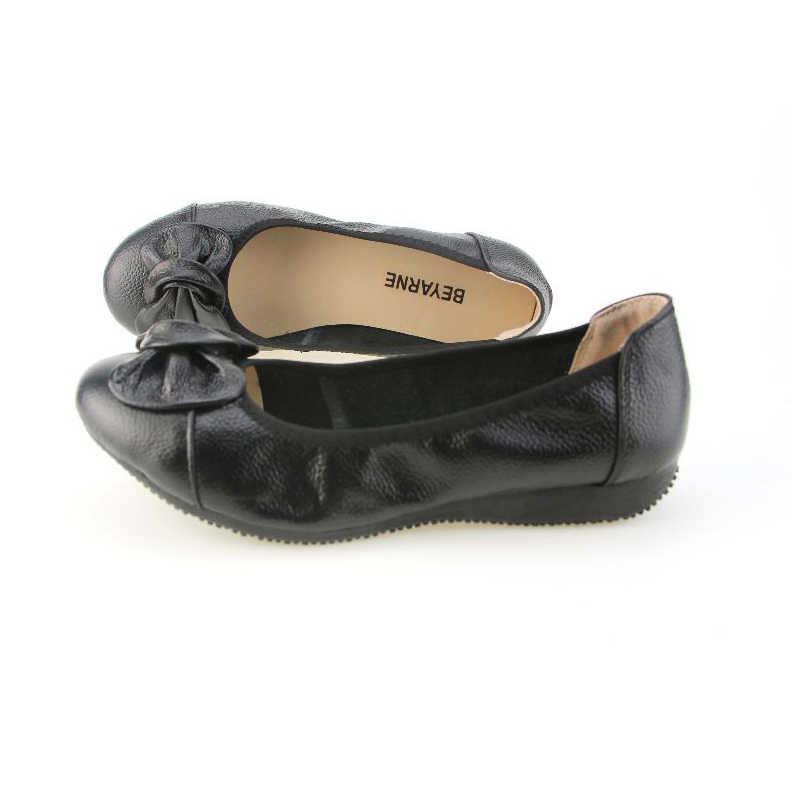 BEYARNE หนังแท้สตรี, แฟชั่นชี้ Toe ผู้หญิง Ballet แบนยี่ห้อ Designer รองเท้า Ballerina รองเท้ารองเท้ารองเท้าผู้หญิง