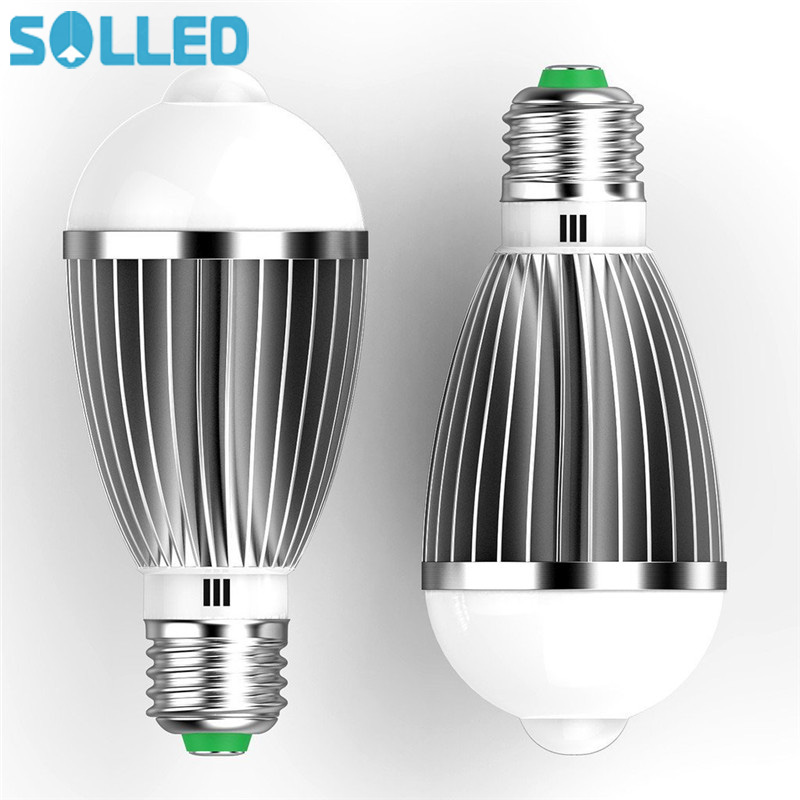 SOLLED Led PIR Infrared Sensor Motion Light Bulb E27 7W Auto Smart Led Motion Detecting Light Lamp With The Motion Sensor litake led bulb lamp energy saving motion activated light bulb e27 9w pir infrared motion sensor light pir stairs night light