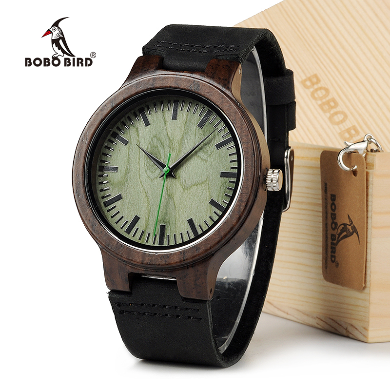 BOBO BIRD C25 Vintage Ebony Wood Men Watch With Green Wood Dial With Real Leather Strap as Gift In Gift Box corporate real estate management in tanzania