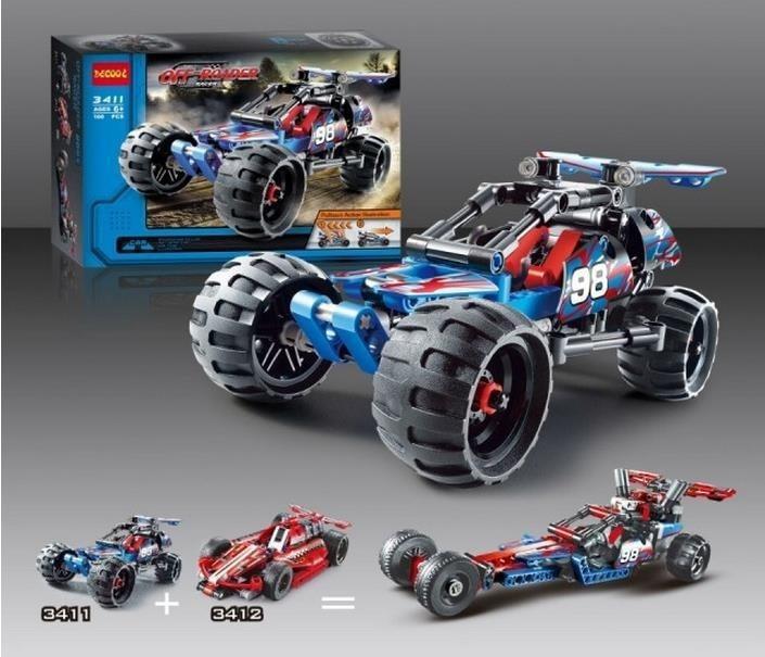 2018 Hot High Technic 2 in 1 warrior off-roader racer Car Model 3D building block sets Warrior sports car compatible kids toys