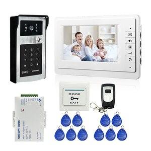 """Image 1 - 有線7 """"ビデオドア電話ドアベルビデオインターホンシステム + ir rfidコードキーパッドカメラ + リモート送料無料"""