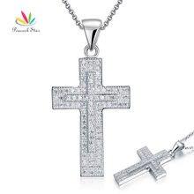 Pavo real Estrella Sólida Plata de ley 925 Cruz Colgante de Collar de La Joyería Micro del Ajuste de Diamantes Simulados CFN8039