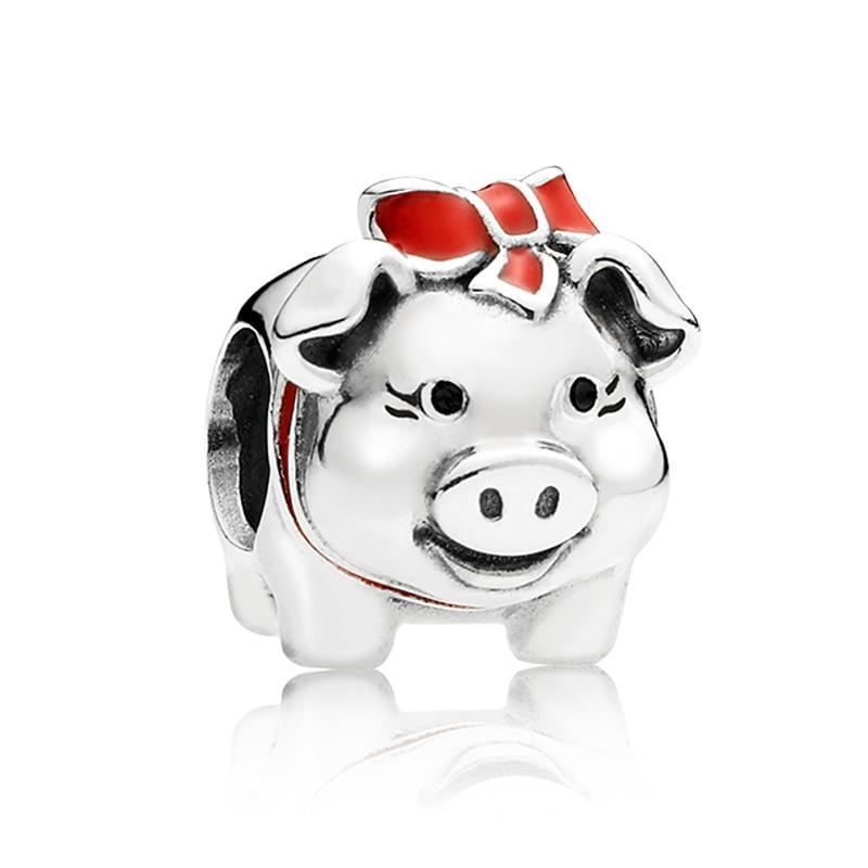 Authentic 925 Sterling Silver Animal Bead Charm Red Enamel Piggy Bank Beads Fit Women Pandora Bracelet Bangle Jewelry