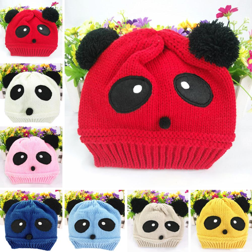 Winter Cute animal Panda Baby Hats boy girl kids Warm crochet beanie ...