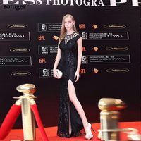 Sweetheart Floor Length With Slit Mermaid Black Slevessless Sexy Real Photo Customized Celebrity Dresse New