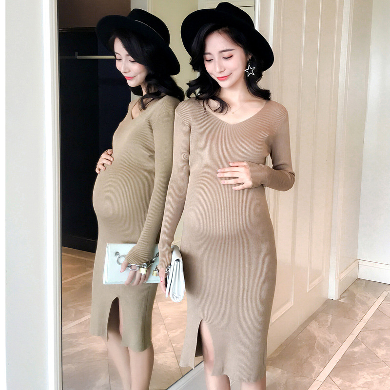 Maternity Clothings Dresses Jersey Dress Elastic Pregnant Woman Clothes Fashion Spring F ...