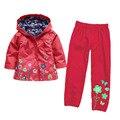 Moda nylon nieve chaqueta winfbreaker del bebé caliente pantalones bebé infantil de la ropa de los niños niñas