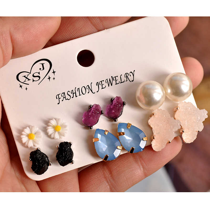 New fashion women jewelry wholesale girls spring and summer ear stud mix build type 6 pairs of earrings /set beautiful gift