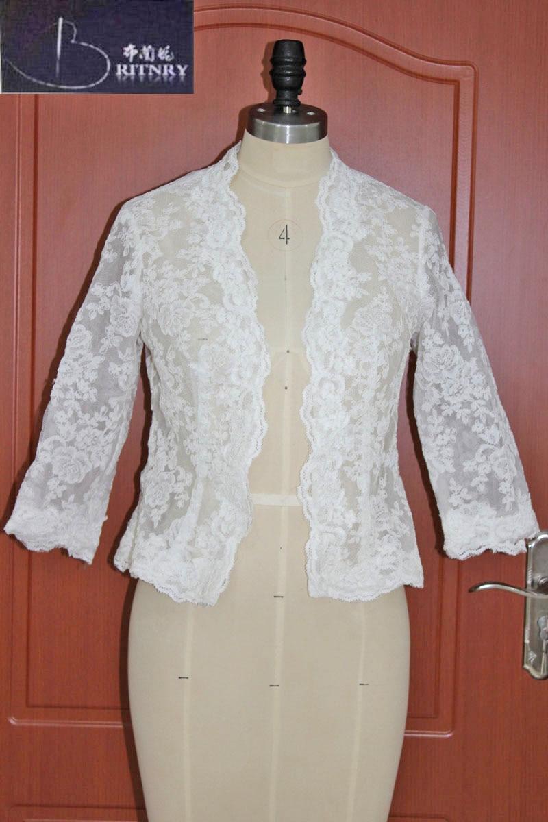 Modest Lace Bolero Jacket Ivorywhite Short Wedding Wrap -3253