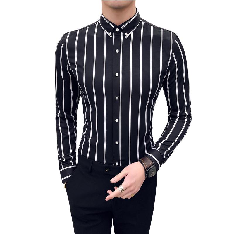 Long Sleeve Shirt Men Black White Striped Slim Fit Blouse Business Social Dress Shirts Male