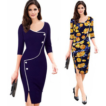 Women Autumn Work Office Business Floral Pencil Dress Front Button Contrast Color Side Split Sheath Bodycon Midi Dress Plus Size