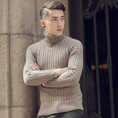 c8a366ccb7 Dropwow 2018 Fall Winter Thick Warm Cashmere Sweater Men Turtleneck ...