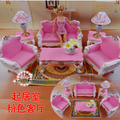 2014 New Doll furniture accessories For barbbe (sofa + table + lamp), Pink living room for For doll Free shipping