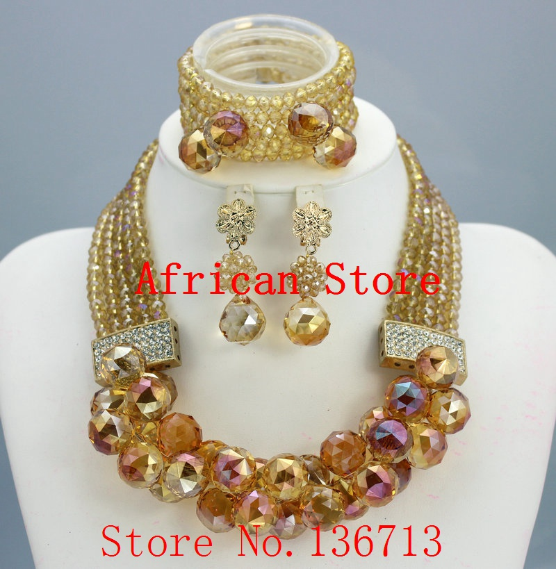 New year big sale! Classic Orange red blue Nigerian/african beads jewelry set sets in wedding party dinner dress for women R953