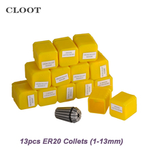 1 Set ER20  Collet 13Pcs  Collet Chuck For CNC Milling Lathe Tool And Spindle Motor  CNC Machine Lathe Accessories  (2-12mm)