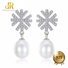 DR Brand 100% 925 Sterling Silver Romantic Snowflake Pearl Stud Earrings for Women Freshwater Pearls Wedding Jewelry Accessories