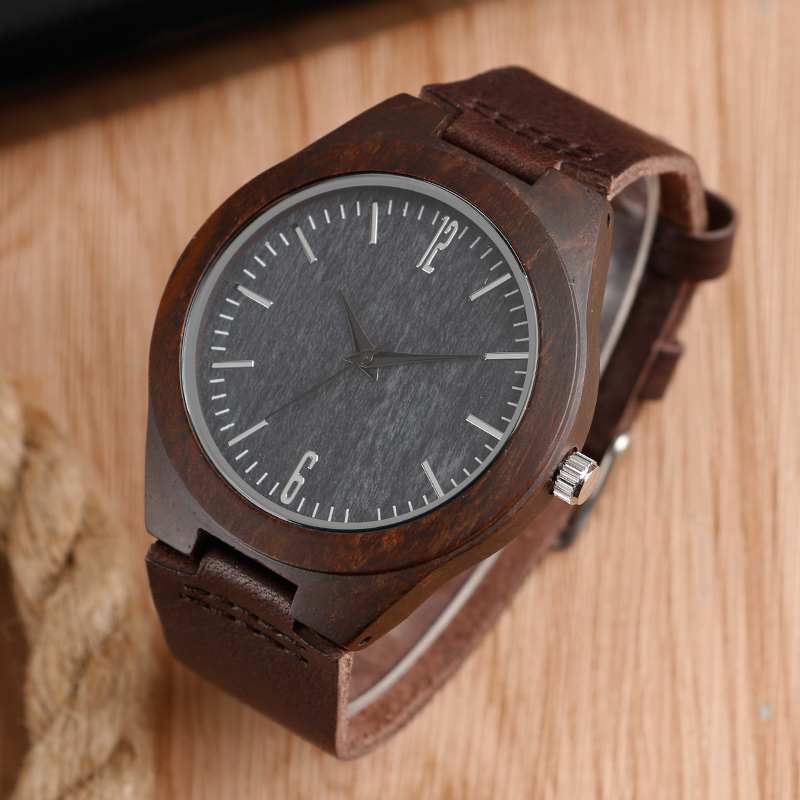 Men Watches Nature Bamboo Handmade Black Sandal Wood Watch Male Big Dial Genuine Leather Bracelet Wristwatch Men Sports