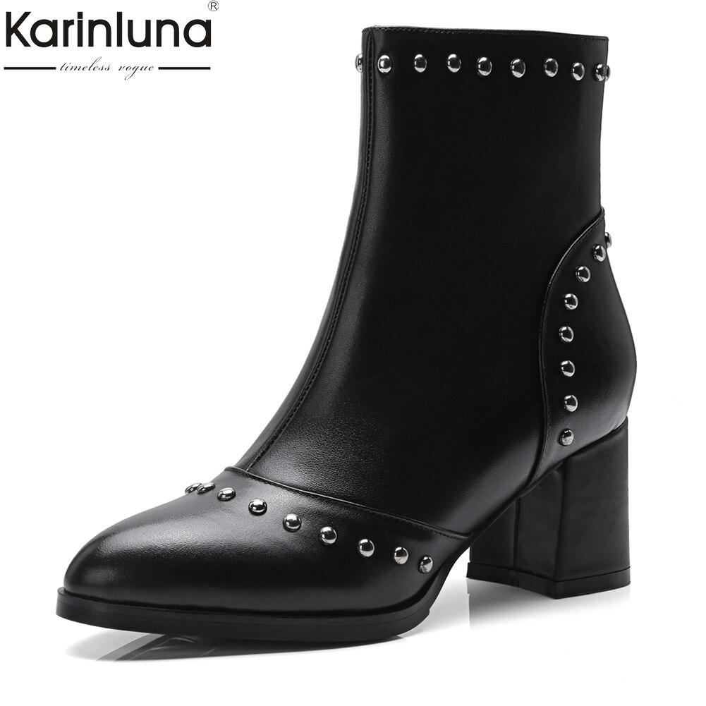 Karinluna 2018 In Pelle di Mucca di Grandi Dimensioni 33-43 delle donne del cuoio genuino Scarpe Da Donna Piazza Tacchi alti Alla Caviglia Stivali Donna scarpe