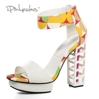 Pink Palms 2017 Women Summer Shoes White Birdcage Heels 4 5 Inch High Heels Metalic Wedges