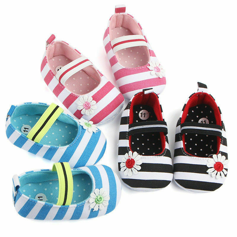 Fashion Hot Sale Summer Cute Baby Girl First Walker Newborn Flower Striped Print Princess Shoes Baby Girl Cotton Shoes 2019