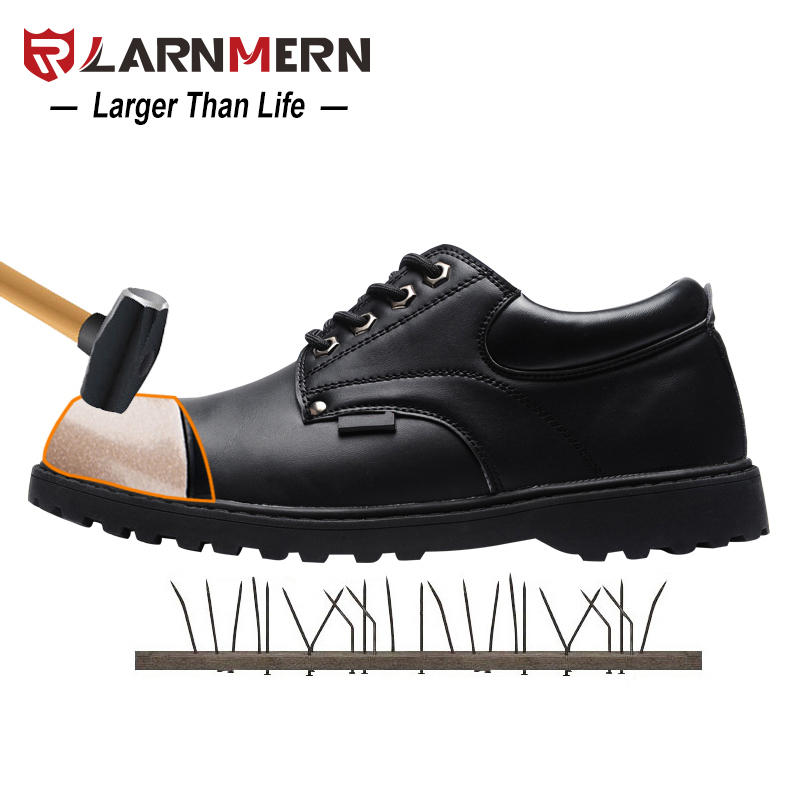 LARNMERN Steel Toe Cap Work Safety Men Shoes Anti-Puncture Leather Casual Breathable Outdoor Combat Ankle Boots Safety Footwear halinfer men s safety shoes with steel toe cap air mesh round toe breathable casual fashion outdoor men safety boots