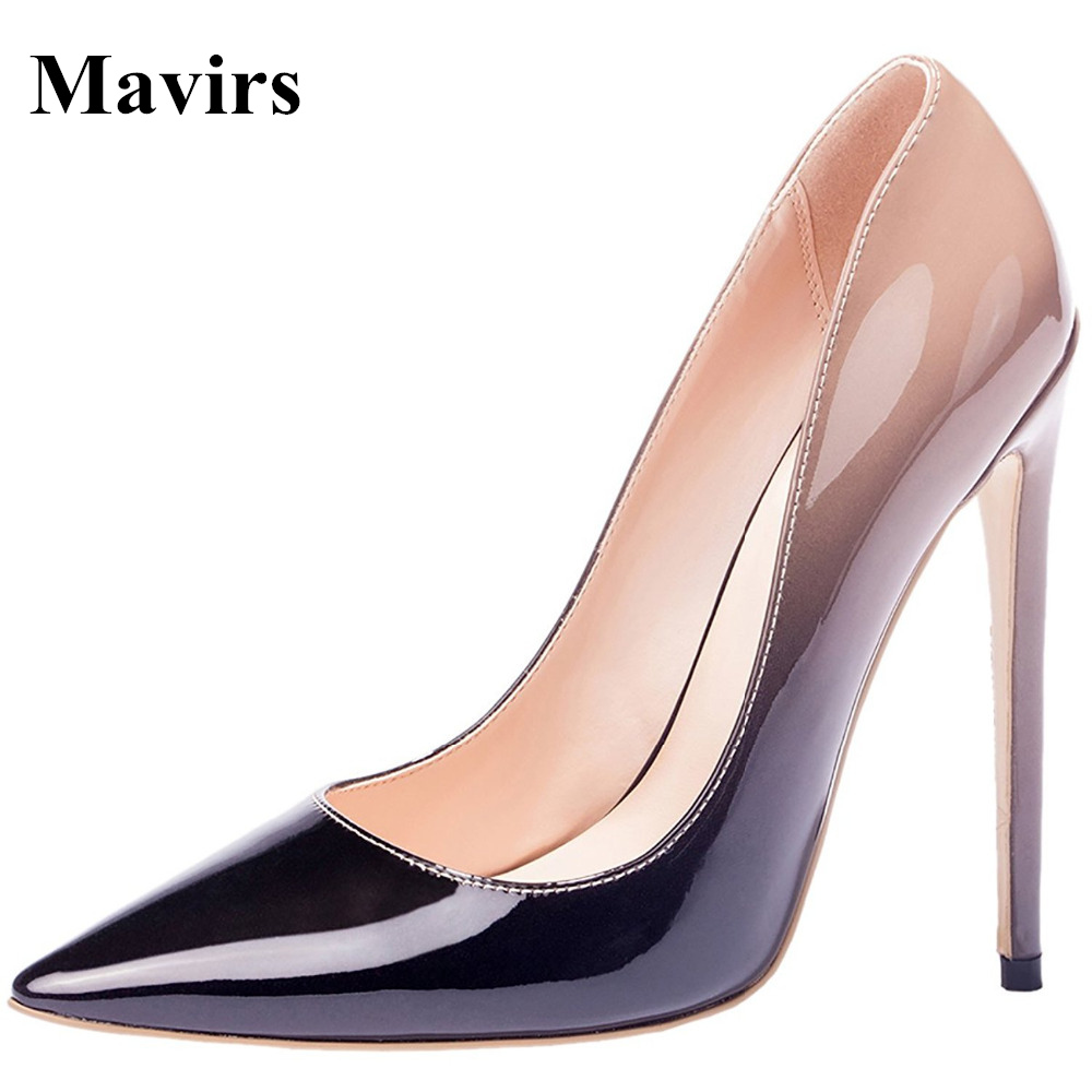 2017 Brand New Luxury Design Patent Leather Gradient Extreme High Heels Woman Pumps Plus Size Stiletto